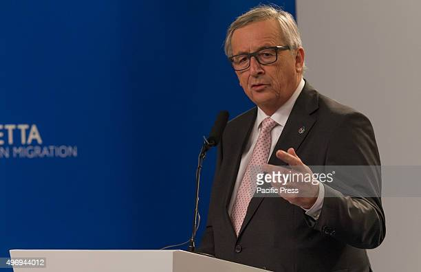 European Commission President Jean-Claude Juncker gives a press meeting at the end of the informal meeting of EU heads, where the main point of...