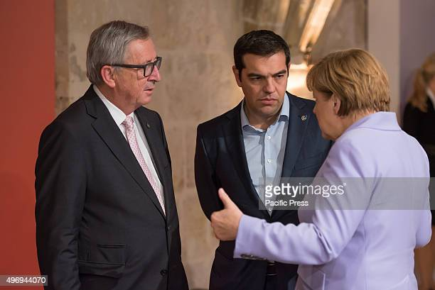 European Commission President Jean-Claude Juncker Greek Prime Minister Alexis Tsipras and German Chancellor Angela Merkel At the two-day Malta...