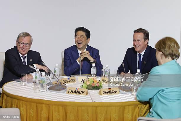 European Commission President JeanClaude Juncker Japanese Prime Minister Shizo Abe British Prime Minister David Cameron German Chancellor Angela...