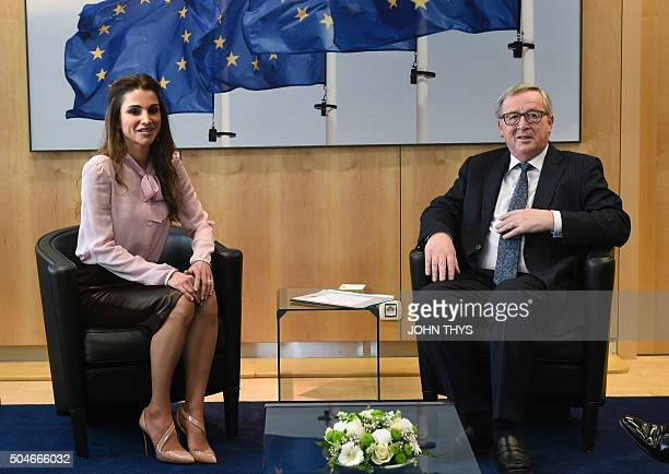 European Commission president JeanClaude Juncker meets with Queen Rania of Jordan at the EU headquarters in Brussels on January 12 2016 / AFP / JOHN...