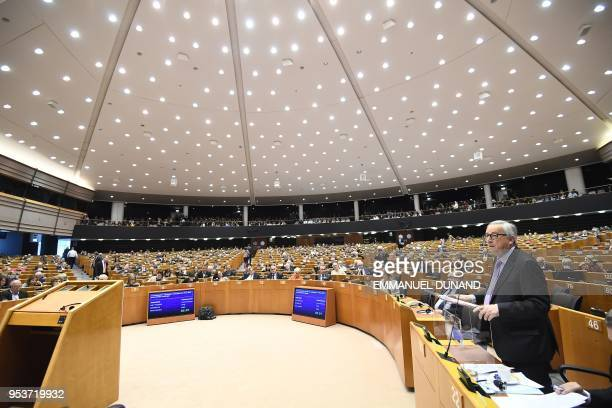 European Commission President JeanClaude Juncker presents the EU's next longterm budget in the European Parliament in Brussels on May 2 2018 European...