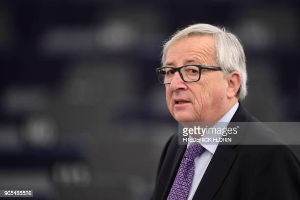 European Commission President JeanClaude Juncker speaks during a debate at the European Parliament in Strasbourg eastern France on January 16 2018 /...