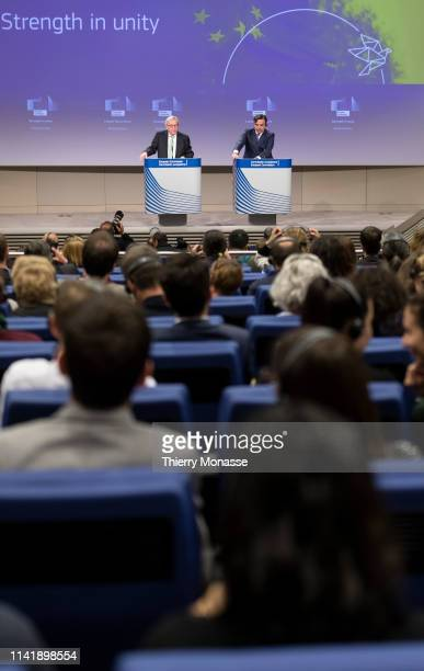 European Commission President JeanClaude Juncker speaks during a news conference at the Berlaymont the European Commission headquarters in Brussels...