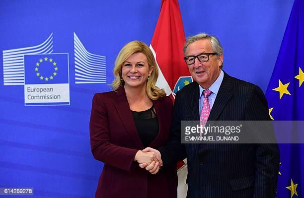 European Commission President JeanClaude Juncker welcomes Croatia's President Kolinda GrabarKitarovic at the European Commission in Brussels on...