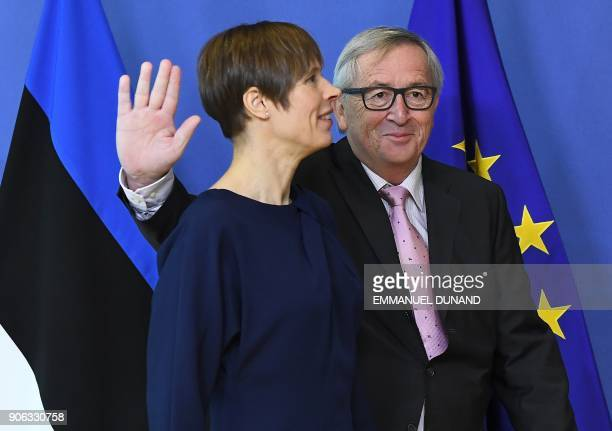 European Commission President JeanClaude Juncker welcomes Estonia's President Kersti Kaljulaid prior to a meeting at the European Commission in...