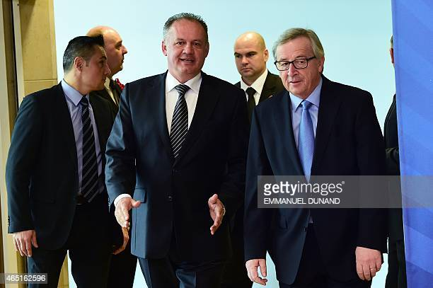 European Commission President JeanClaude Juncker welcomes Slovakia's President Andrej Kiska at the European Commission headquarters in Brussels on...