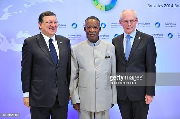 European Commission President Jose Manuel Barroso and EU Council president Herman Van Rompuy welcome Zambia's President Michael Chilufya Sata prior...