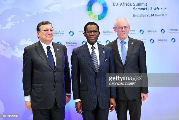 European Commission President Jose Manuel Barroso and EU Council president Herman Van Rompuy welcome Equatorial Guinea's President Teodoro Obiang...