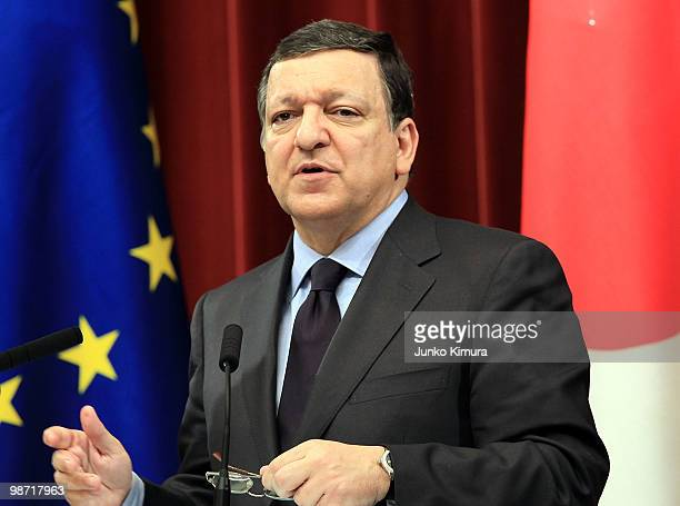 European Commission President Jose Manuel Barroso attends a joint press conference at Hatoyama's official residence on April 28 2010 in Tokyo Japan...