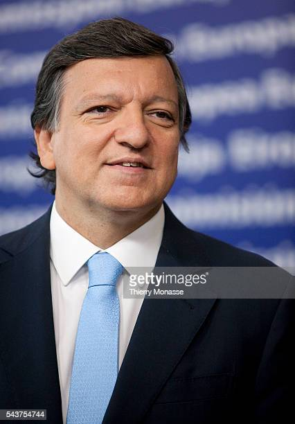 European Commission President Jose Manuel BARROSO gestures during a news conference where he presented to the media on his political guidelines for...