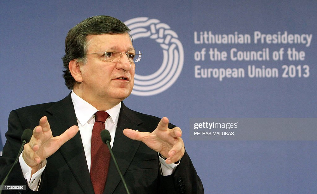 European Commission President Jose Manuel Barroso gives a press conference with the Lithuanian President during a Presidency opening ceremony at the National Art Gallery in Vilnius on July 5, 2013. The small Baltic nation, the first to break free from the crumbling Soviet Union in 1990 before joining the EU in 2004, assumed the six-month rotating presidency of the European Union on July 1, 2013.