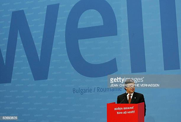 European Commission President Jose Manuel Barroso of Portugal addresses officials before the signing of the treaty of adhesion of Bulgaria and...