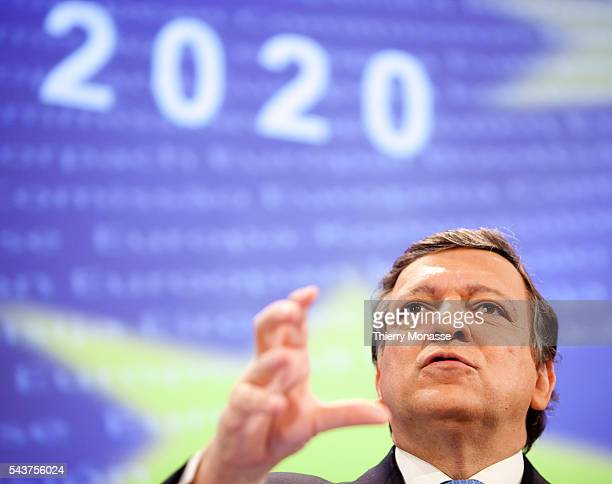 European Commission President Jose Manuel BARROSO speaks during a media conference on Europe 2020 at EU headquarters The European Union's executive...