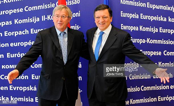 European Commission President Jose Manuel Barroso welcomes on July 6 2009 Luxembourgian Prime Minister and head of the Eurogroup an informal grouping...