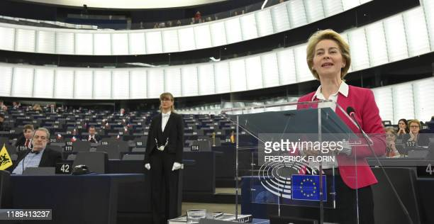 European Commission President Ursula von der Leyen addresses the European Union parliament on results of EU summit on December 18, 2019 in Strasbourg.