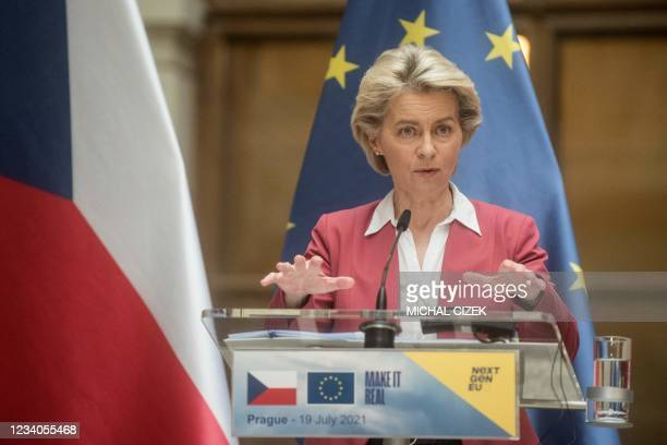European Commission President Ursula von der Leyen and Czech Republic's Prime Minister speak to the media during a press conference on July 19, 2021...