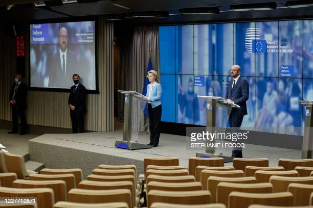 European Commission President Ursula Von Der Leyen and European Council President Charles Michel speak during a news conference following a four days...