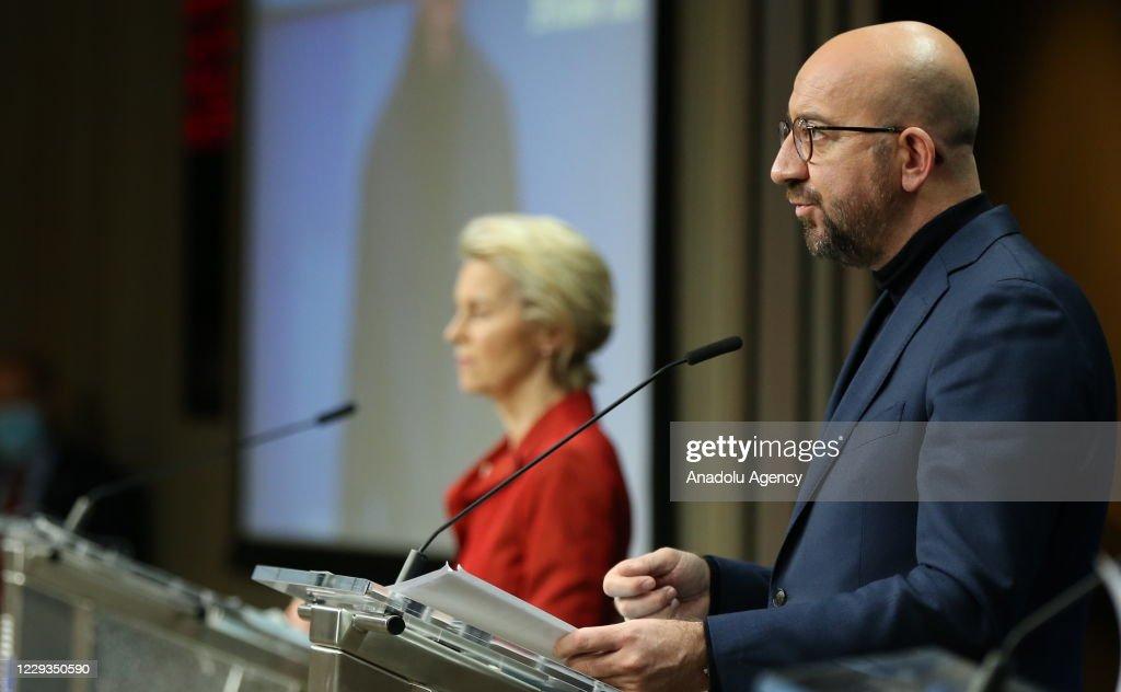 Ursula Von Der Leyen - Charles Michel press conference : News Photo