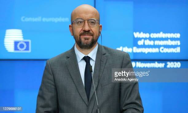 European Commission President Ursula Von Der Leyen and European Council President Charles Michel give a press conference at the end of a European...