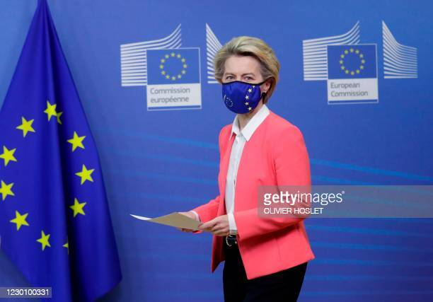 European Commission President Ursula von der Leyen arrives for a press statement following a phone call meeting with Britain's Prime Minister, at the...