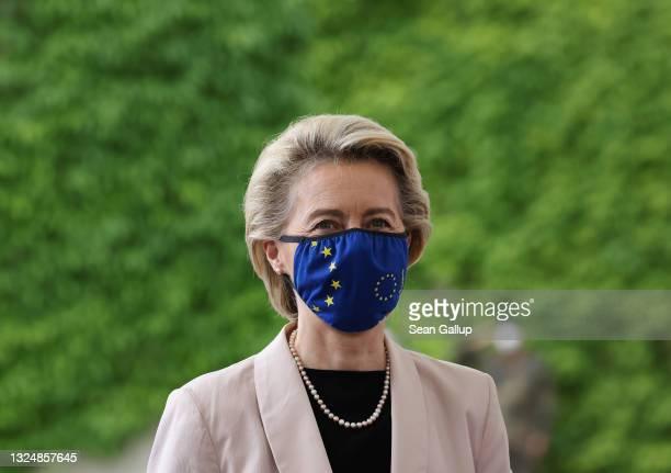 European Commission President Ursula von der Leyen arrives to meet with German Chancellor Angela Merkel at the Chancellery on June 22, 2021 in...
