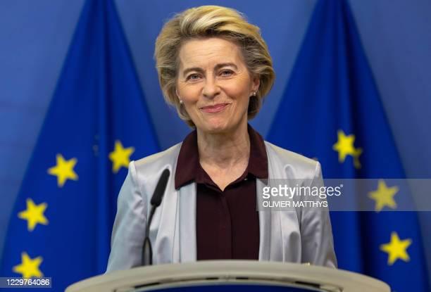 European Commission President Ursula von der Leyen delivers a statement at EU headquarters in Brussels on November 24, 2020. - The European...