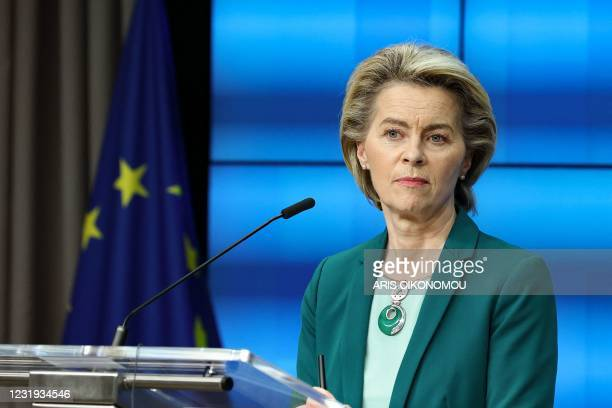 European Commission President Ursula von der Leyen delivers a joint press conference with the European Council President at the end of the first day...