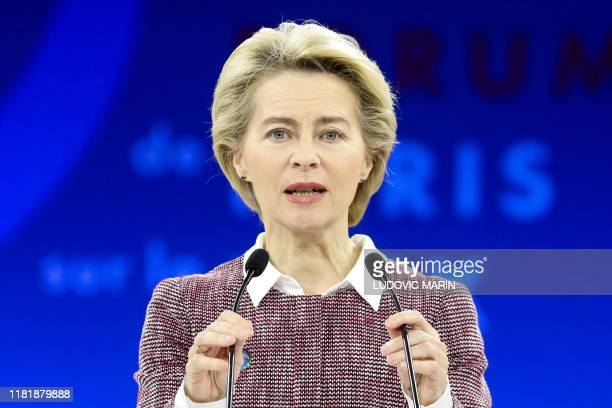 European Commission president Ursula von der Leyen delivers a speech during the plenary session of the Paris Peace Forum on November 12 2019 in Paris