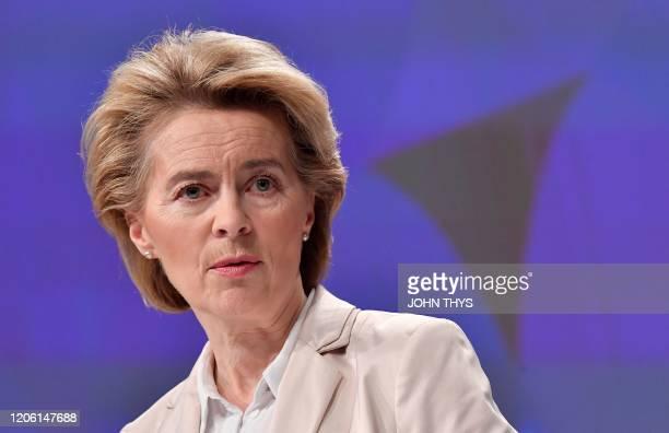 European Commission President Ursula von der Leyen delivers a speech at the EU headquarters in Brussels on March 9, 2020.