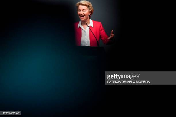 European Commission President Ursula Von Der Leyen delivers a speech during the presentation of Europe's Recovery and Resilience Plan at the...