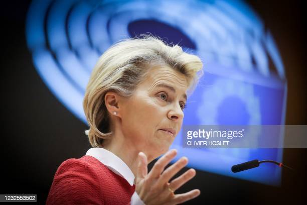 European Commission President Ursula von der Leyen delivers a speech during the debate on EU-UK trade and cooperation agreement during the second day...
