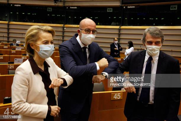 European Commission President Ursula Von Der Leyen , European Council President Charles Michel and European Parliament president David-Maria Sassoli...