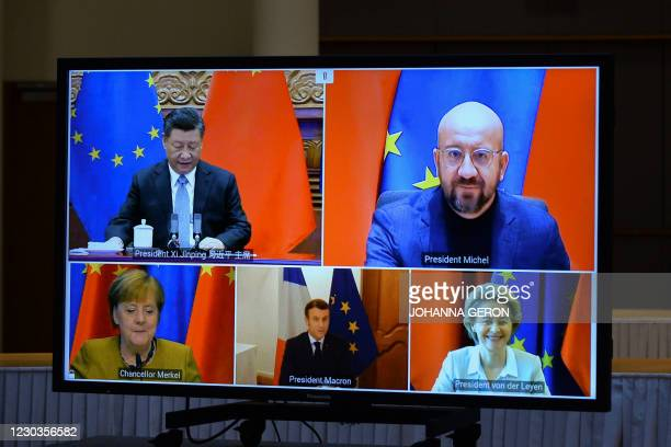 European Commission President Ursula von der Leyen, European Council President Charles Michel, German Chancellor Angela Merkel, French President...