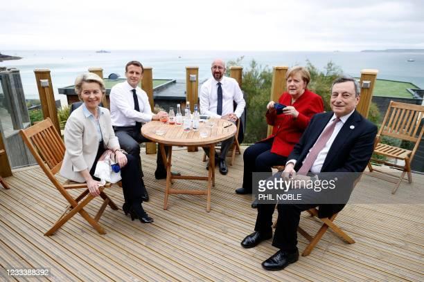 European Commission President Ursula von der Leyen, France's President Emmanuel Macron, European Council President Charles Michel, German Chancellor...