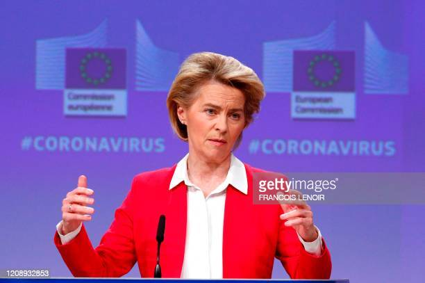 European Commission President Ursula von der Leyen gestures as she speaks during a news conference detailing EU efforts to limit economic impact of...