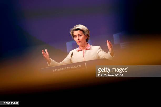 European Commission President Ursula von der Leyen gestures during a media conference on Brexit negotiations at the EU headquarters in Brussels, on...