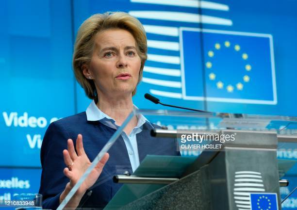 European Commission President Ursula Von Der Leyen gives a press conference following a video conference EU summit to discuss the measures to tackle...