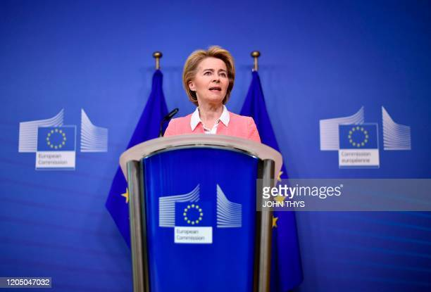 European Commission President Ursula von der Leyen gives a press conference on the European Climate Law at the EU headquarters in Brussels on March...