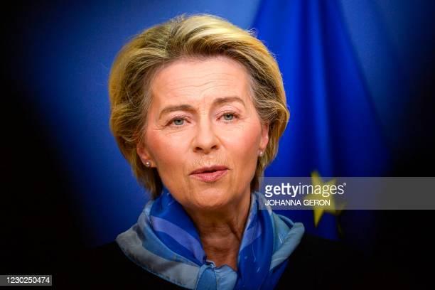 European Commission President Ursula von der Leyen gives a press statement after the European Medicines Agency gave the green light to European...
