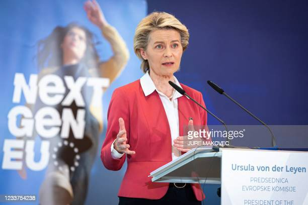 European Commission President Ursula von der Leyen gives a press conference after Slovenia took over the rotating European Union presidency, in Brdo,...
