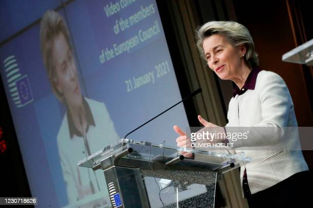 European Commission President Ursula von der Leyen gives a presser at the end of a video conference meeting of the members of the European Council...