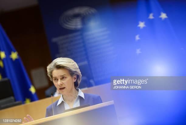 European Commission President Ursula Von Der Leyen gives a speech about the European Union's vaccine strategy, at the European Parliament in...