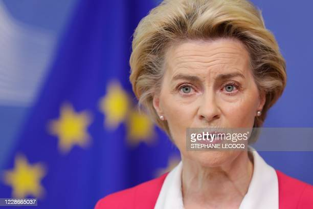 European Commission President Ursula Von Der Leyen gives a statement on the New Pact for Migration and Asylum at the European Commission in Brussels,...