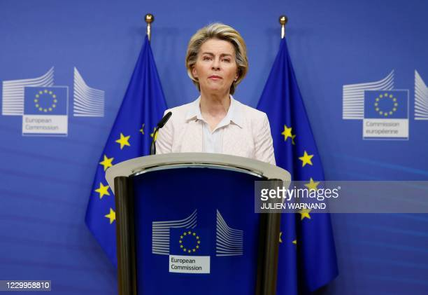 European Commission President Ursula von der Leyen gives a statement at the European Commission in Brussels, on December 5, 2020. - British and EU...