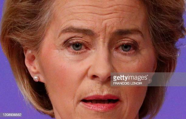 European Commission President Ursula von der Leyen holds a news conference detailing EU efforts to limit economic impact of the coronavirus disease...