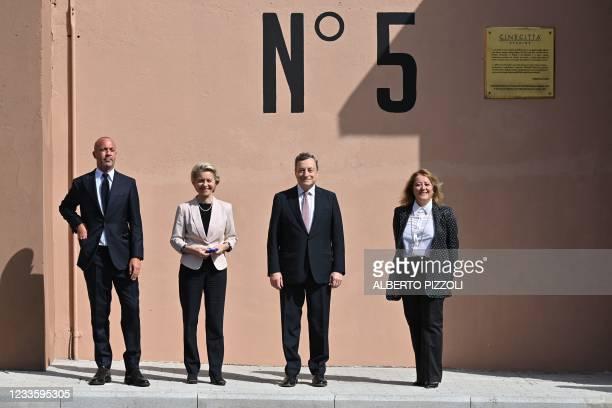 European Commission President, Ursula von der Leyen , Italy's Prime Minister, Mario Draghi , President of the Cinecitta cinema studios, Chiara...