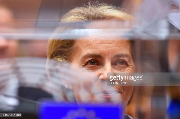 European Commission President Ursula von der Leyen looks on during a European Parliament plenary session in Brussels on January 29 as Brexit Day is...
