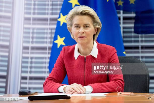 European Commission President Ursula von der Leyen makes a speech as she attends a virtual news conference on security issues with French President...
