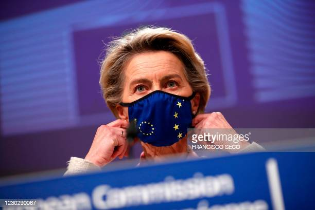 European Commission President Ursula von der Leyen prepares to address a media conference on Brexit negotiations at the EU headquarters in Brussels,...