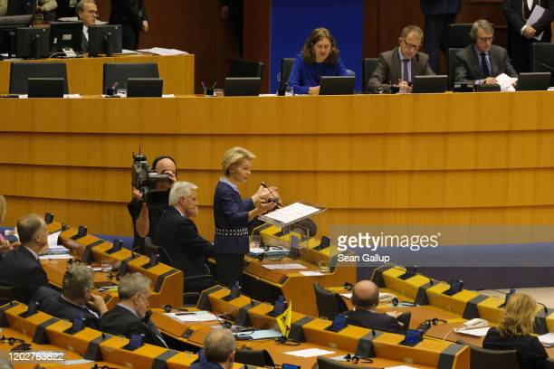 European Commission President Ursula von der Leyen speaks at a session of the European Parliament in which it is to approve the Brexit deal as Michel...